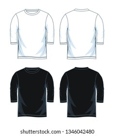 Men's three-quarter round neck t-shirt templates, Front and back views. Vector illustration.
