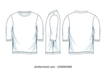 Men's three-quarter round neck t-shirt templates, Front, side and back views. Vector illustration.