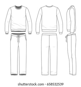 Men's track suit. Blank vector templates of sweatshirt and sweatpants. Clothing set. Line art design.