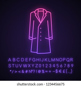 Mens trench coat neon light icon. Overcoat. Menswear. Outerwear. Autumn clothes. Glowing sign with alphabet, numbers and symbols. Vector isolated illustration