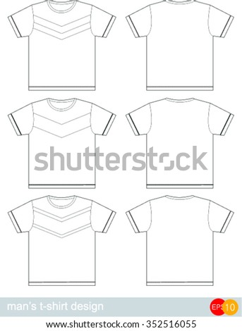 75f8c905 Men's t-shirt design template. T-SHIRT in various design and colors, easy to  adjust. - Vector