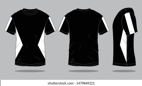 Men's T-Shirt Design Vector (Black / White Color) : Front, Back and Side View
