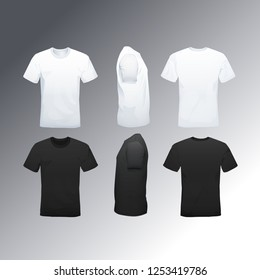Men's t-shirt in different views with realistic style.