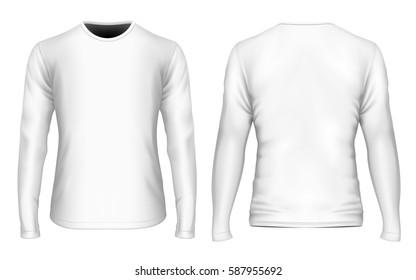 Men's t-shirt (front and back views). Long sleeve variants of t-shirt. Fully editable handmade mesh. Vector illustration.