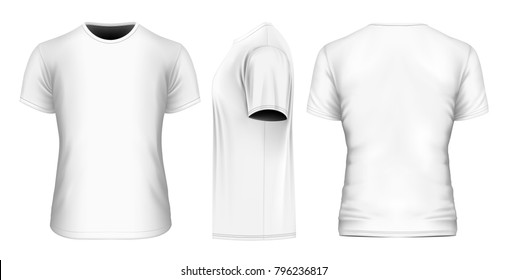 Men's t-shirt (front, side and back views). Short sleeve. Vector illustration.