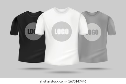 Men's t-shirt mockup set in black, white and grey color with logo template in the center, realistic clothing mock up for merchandise design - vector illustration