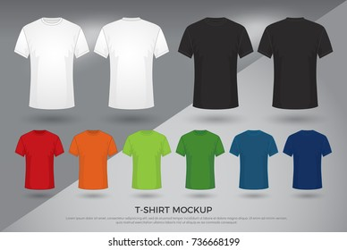 Men's t-shirt mockup, Set of black, white and colored t-shirts templates design. front and back view shirt mock up. vector illustration