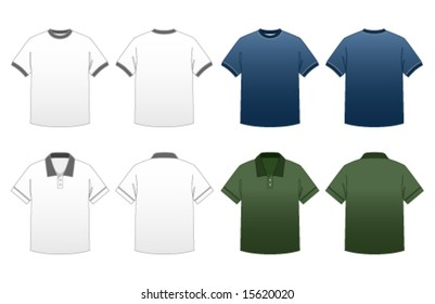 Men's T-shirt Templates Series 2-Ringer and Collared Polo Tees featuring back and front in dark and light versions