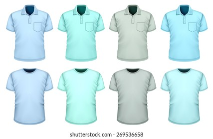 Men's t-shirts and polo-shirts. Shades of blue. Vector illustration.