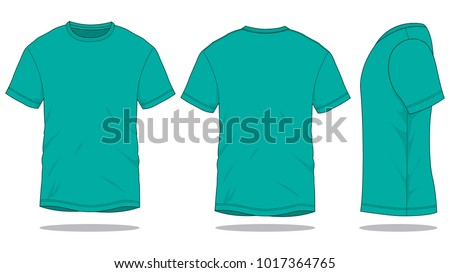 Mens Turquoise T Shirt Vector Front Back Stock Vector Royalty Free