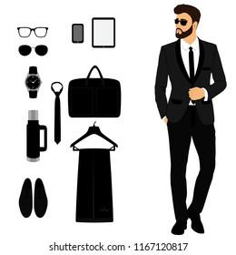 Men's tuxedo. Men's Accessories. Wedding men's set. Gentleman. Flat design. Vector illustration.