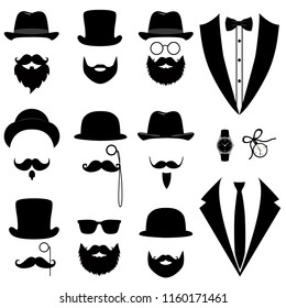 Men's tuxedo. Mustache, glasses, beard, pipe and top hat. Wedding suits with bow tie and with necktie. Vector illustration