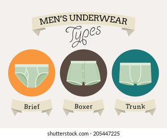 Men's underwear types with names on ribbons