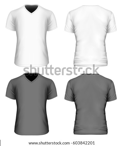 8acde8b54 Men's v-neck short sleeve t-shirt. Front and back views of white and black  shirt. Vector illustration. - Vector