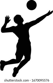 Men's Volleyball Player Jump Serve Sports Silhouette Vector