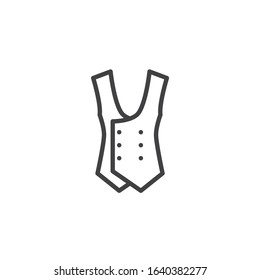 Mens waistcoat line icon. linear style sign for mobile concept and web design. Waistcoat jacket outline vector icon. Symbol, logo illustration. Vector graphics