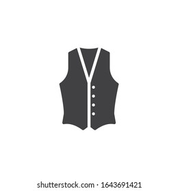 Mens waistcoat vector icon. filled flat sign for mobile concept and web design. Waistcoat jacket glyph icon. Symbol, logo illustration. Vector graphics