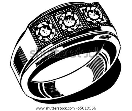 Mens Wedding Ring Retro Clipart Illustration Stock Vector Royalty