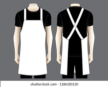 Men's White Apron Design Vector