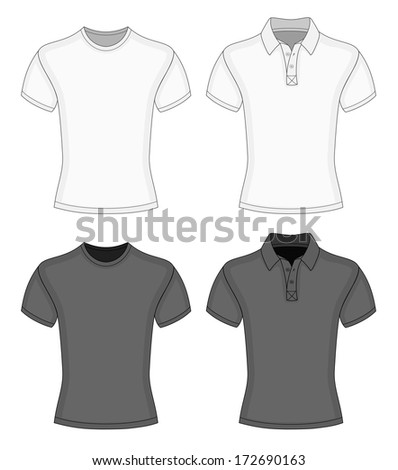 2c31d81b8 Men's white and black short sleeve t-shirt and polo-shirt design templates  (front view). Vector illustration. No mesh. Redact very easy! - Vector