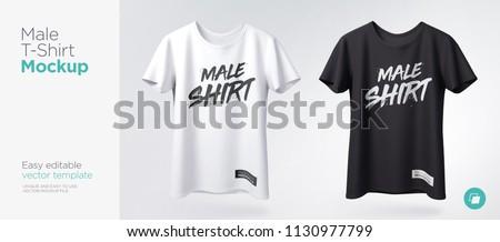 Mens White Black Tshirt Short Sleeve Stock Vector Royalty Free