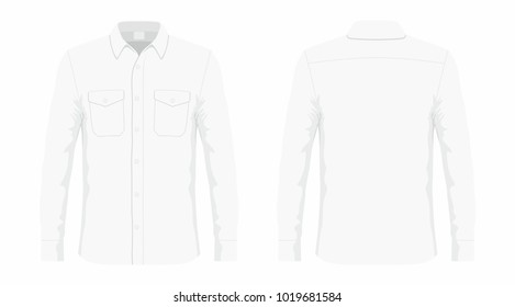 Men's white dress shirt. Front and back views on white background