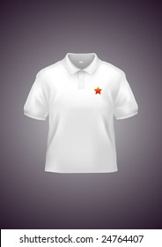 Men's white polo shirt design template (contains gradient mesh elements!). Star can be easily changed to your logo.