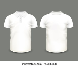 Men's white polo shirt with short sleeve in front and back views. Vector template. Fully editable handmade mesh.