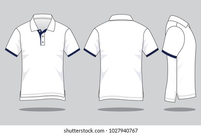 Men's white polo shirt vector (shirts long in back short in front)