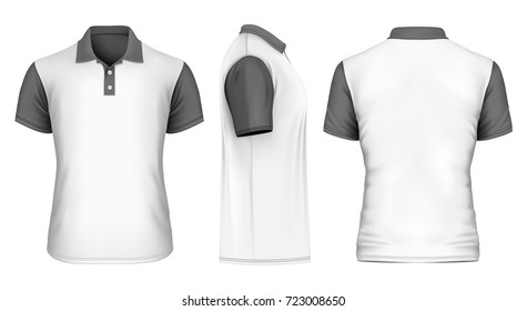 Men's white polo-shirt with black sleeves and collar. Front, back and side views. Vector illustration.
