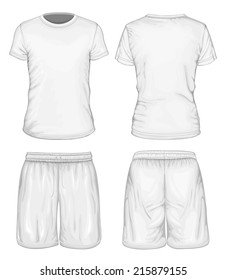 Men's white short sleeve t-shirt and sport shorts design templates (front and back views). Vector illustration.