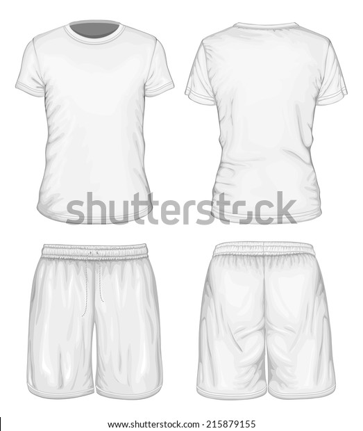 414ad723b Men's white short sleeve t-shirt and sport shorts design templates (front  and back