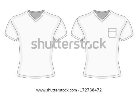 282d1081deb Mens White Short Sleeve Vneck Tshirt Stock Vector (Royalty Free ...