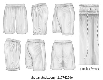 Men's white sport shorts (front, back, side and half-turned views). Vector illustration. Spot colors only.