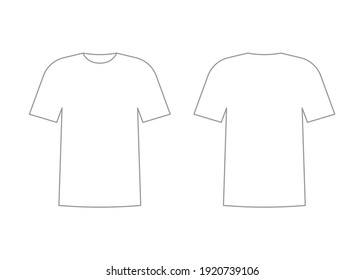 Mens white t-shirt outline with short sleeve. Shirt mockup in front and back view. Vector template illustration