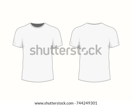 2e0522daf Men's white t-shirt with short sleeve in front and back views. Vector  illustration - Vector