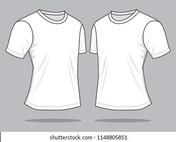 Men's White T-Shirt Vector : Perspective View