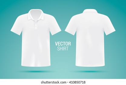 Men's white vector polo shirt template. Realistic mockup.