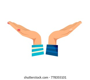 Men's and women s hands with gestures. Gesture outstretched hands open palms. Action gives or receives, help, support. Signals man's, woman s. Vector illustration