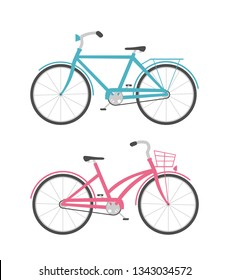 Men's and women's bike. Icons of blue and pink bicycles isolated on white background, illustration.