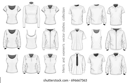 Men's and women's clothes collection. Vector illustration.