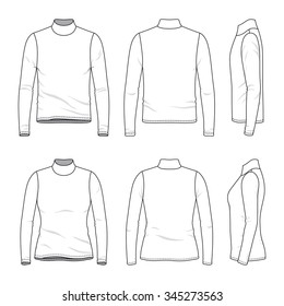 Men's and women's clothing set. Front, back and side views of blank tee. Casual style. Vector templates for your fashion design. Isolated on white.