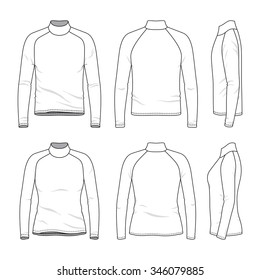 Men's and women's clothing set. Front, back and side views of blank tee with raglan sleeve. Casual style. Vector templates for your fashion design. Isolated on white.