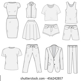 Men's and Women's Clothing set sketch. Clothes, hand-drawing, doodle style. Clothes vector illustration.