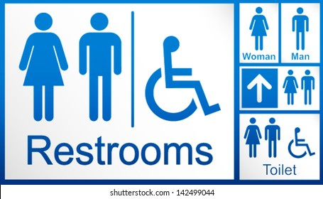 mens and womens + disabled restroom signage set - men's, boy's, women's printable restroom, toilette signs