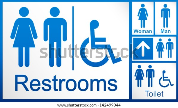 photo relating to Printable Restroom Signs referred to as Mens Womens Disabled Restroom Signage Mounted Inventory Vector