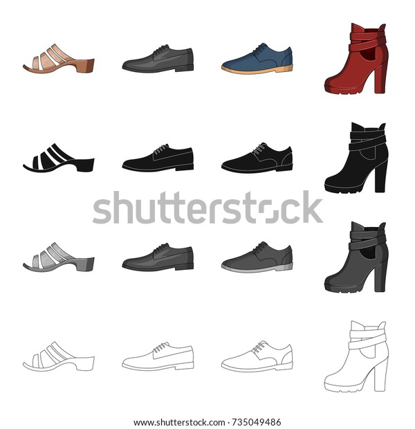 Mens Womens Shoes Different Types Shoes Stock Vector Royalty Free 735049486