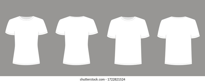Mens and womens white t-shirt with short sleeve. Shirt mockup in front and back view. Vector template illustration