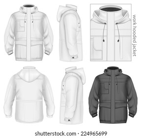 Men's work hooded jacket (front, back and side views). Vector illustration contains gradient mesh.