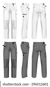 Men's working trousers design template (front, back and side views).  vector illustration